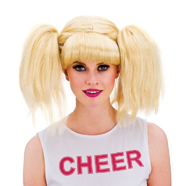 Cheerleader Wig for American USA Sports Fancy Dress